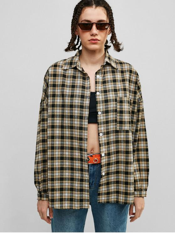 chic Oversized Plaid Drop Shoulder Pocket Shirt - MULTI ONE SIZE