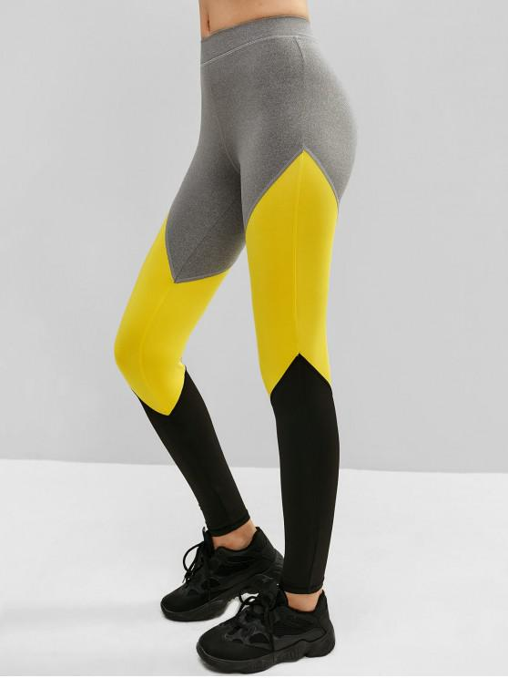 fancy Athletic Color Block Gym Sport Leggings - RUBBER DUCKY YELLOW S