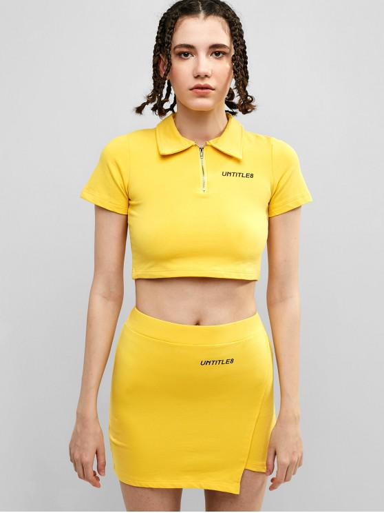 affordable UNTITLE8 Graphic Half Zipper Skirt Set - YELLOW S