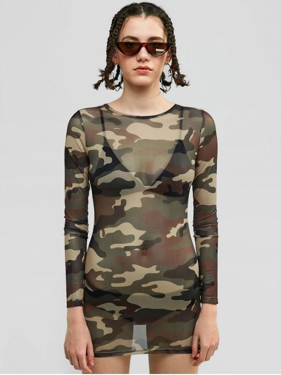T-shirt Camouflage en Maille Transparente à Manches Longues - ACU Camouflage L