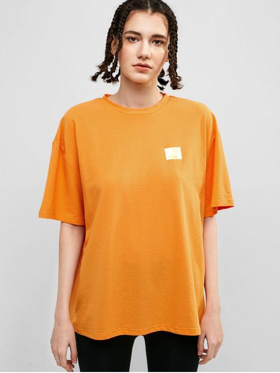 online ZAFUL Letter Patched Drop Shoulder Loose T-shirt - MANGO ORANGE L