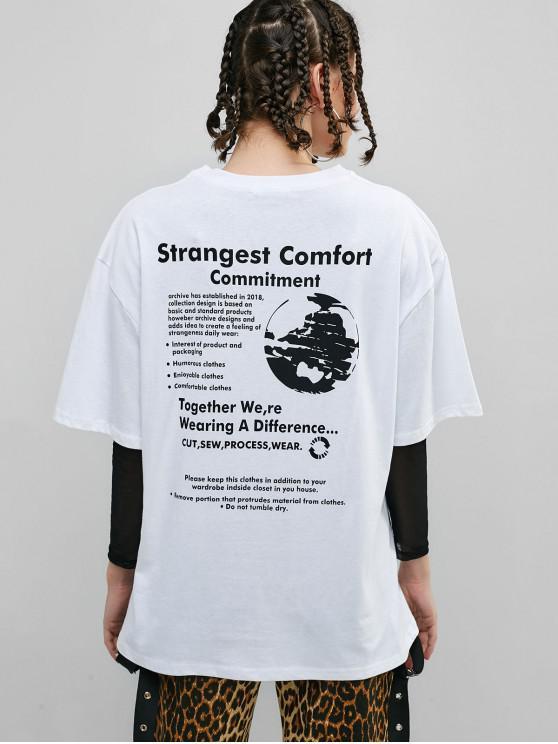 Tee-shirt garçonnet à slogan graphique avec lettre - Blanc Taille Unique