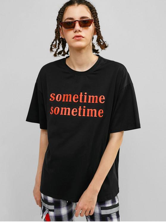 T-shirt Tunique Graphique à Goutte Epaule - Noir L
