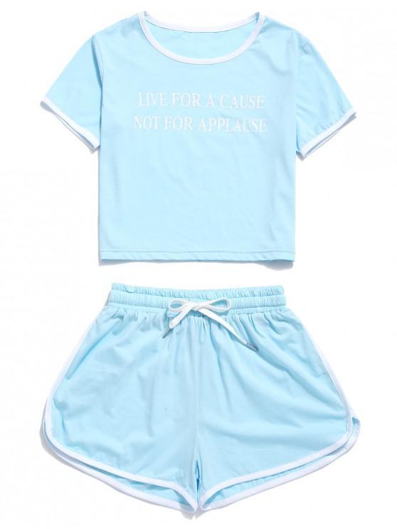 women's ZAFUL Letter Graphic Ringer Shorts Set - POWDER BLUE L