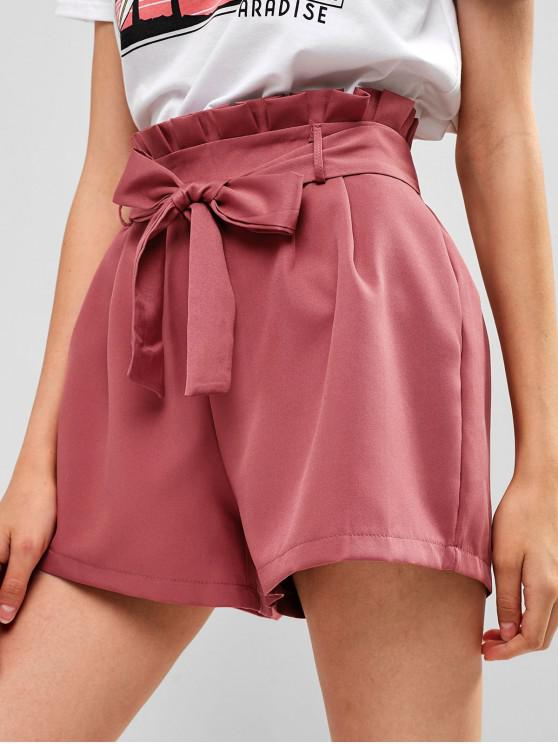 trendy Belted Ruffled High Waisted Shorts - KHAKI ROSE L