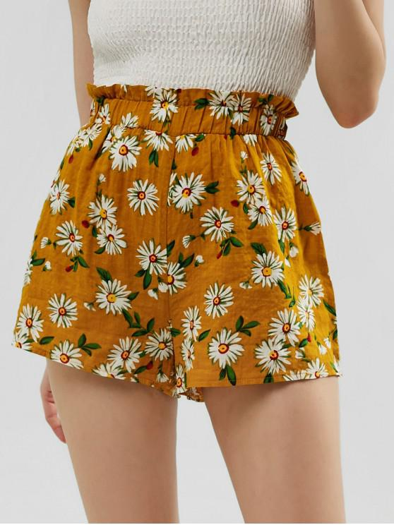 affordable ZAFUL Frilled High Waisted Floral Shorts - BEE YELLOW M