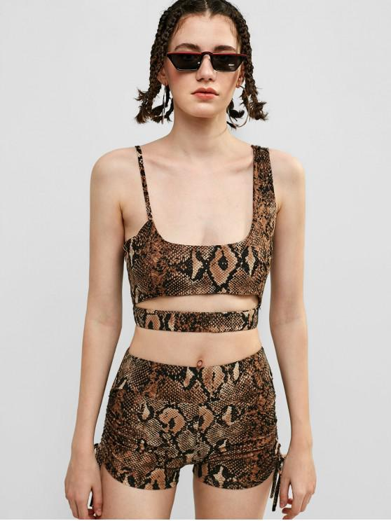 unique Elastic Snake Print Crop Top and Shorts Set - MULTI M