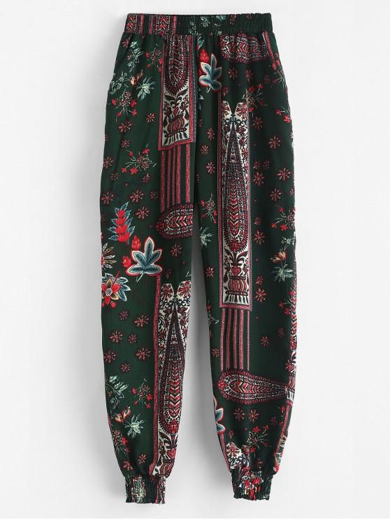 outfit Bohemian Flower Pocket Jogger Pants - MULTI-A S