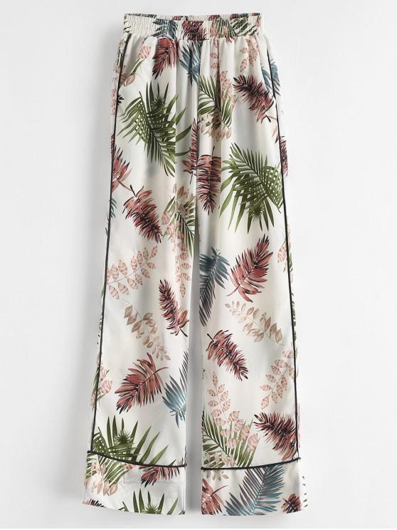 fashion Leaf Print Pocket Wide Leg Pants - MULTI-A M