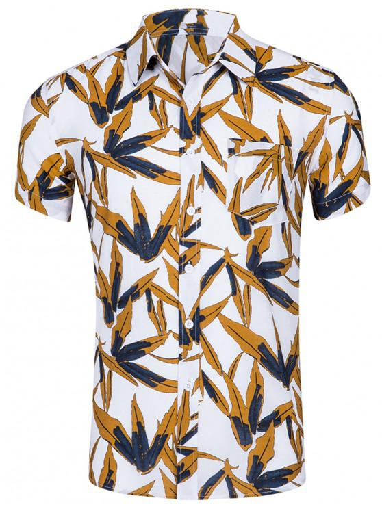 outfits Leaf Print Pocket Decoration Short Sleeves Shirt - WHITE 2XL