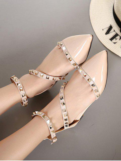 shops Rivet Point Toe Flat Sandals - APRICOT EU 39 Mobile