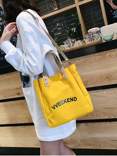 womens Canvas Ins Style Character Pattern Tote - YELLOW  Mobile