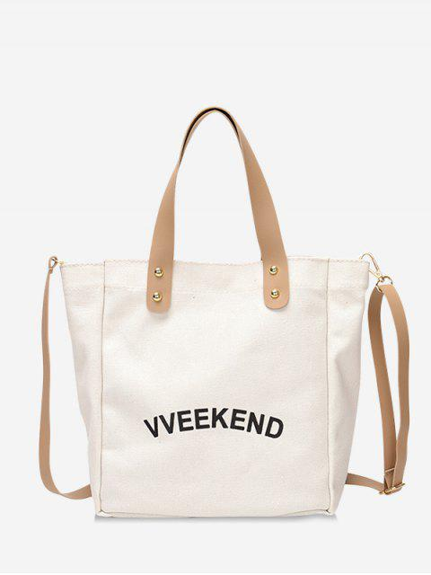 fashion Canvas Ins Style Character Pattern Tote - WHITE  Mobile