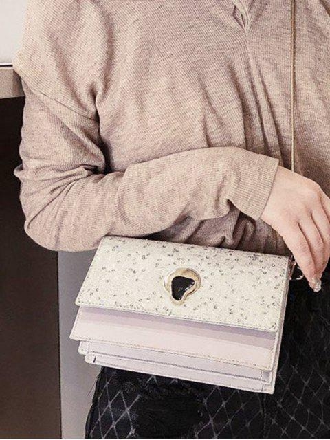 latest Glitter Chain Flap Crossbody Bag - WHITE  Mobile