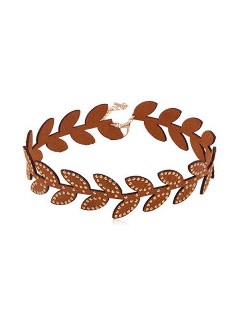 trendy Chic Leaf Design Collarbone Necklace - BROWN  Mobile