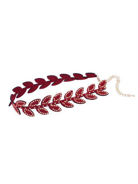 best Chic Leaf Design Collarbone Necklace - RED WINE  Mobile