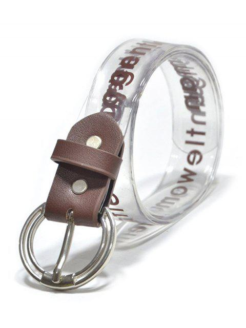 fashion PVC Letter Print Buckle Belt - COFFEE  Mobile