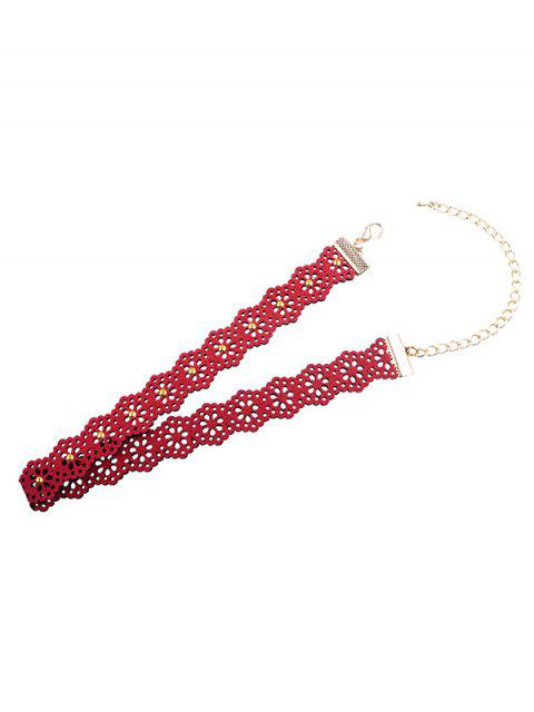 women Lolita Hollow Floral Choker Necklace - RED WINE  Mobile