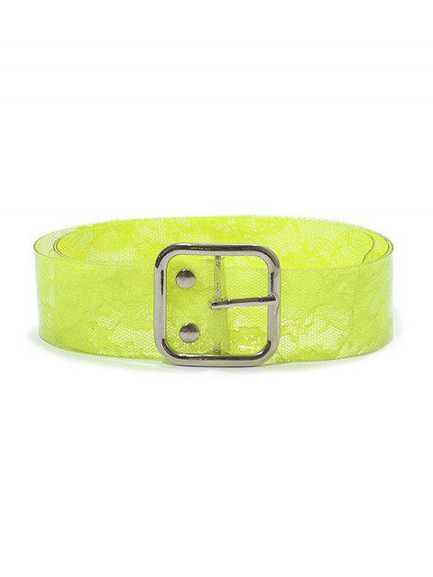 outfit PVC Lace Print Buckle Belt - GREEN YELLOW  Mobile