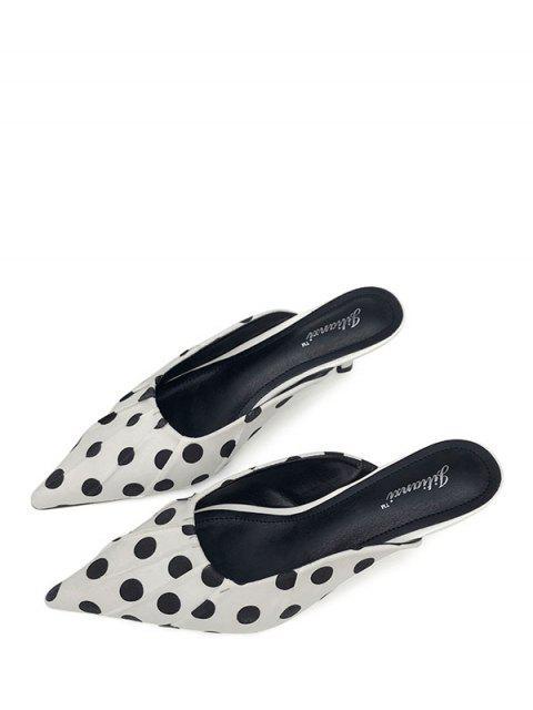sale Pointed Toe Polka Dot Slides - WHITE EU 38 Mobile