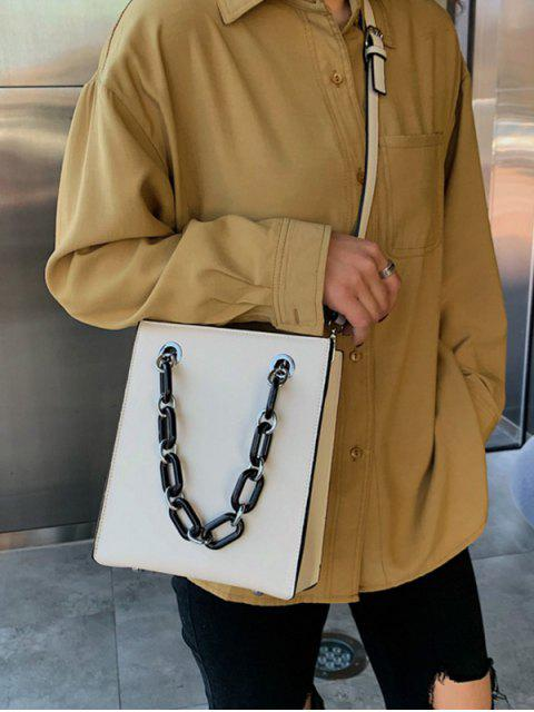 womens PU Leather Chain Crossbody Bag - WHITE  Mobile