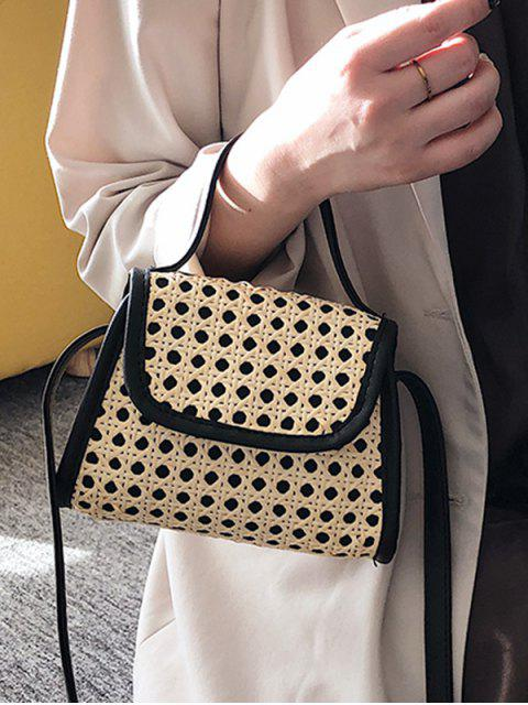 hot Hollow Out Straw Flap Handbag - BLACK  Mobile