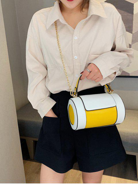 hot Small Leather Jointed Shoulder Bag - YELLOW  Mobile