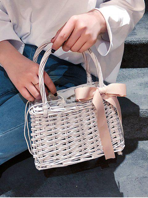shop Hand Woven Straw Bow Beach Handbag - WHITE  Mobile