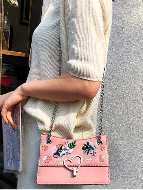 online Flower Embroidery Metal Heart Crossbody Bag - PINK  Mobile