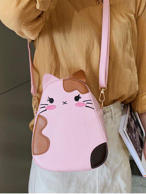 ladies Summer Cat Animal Print Shoulder Bag - PINK  Mobile