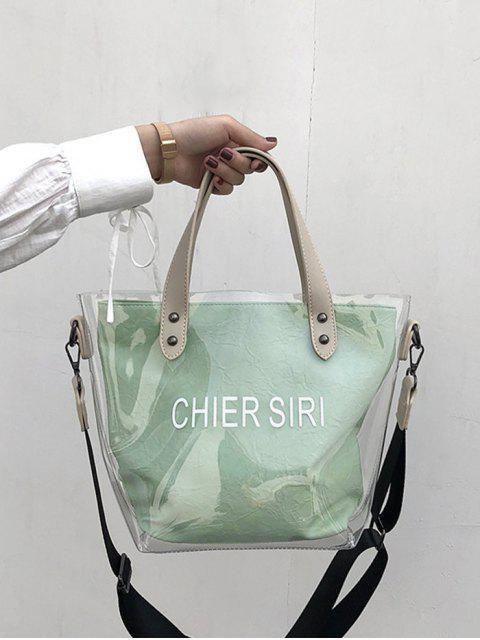 shop Character Pattern Summer Transparent Tote - GREEN  Mobile