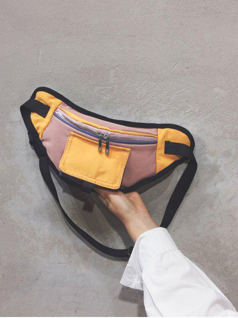 affordable Color Block Canvas Crossbody Bag - YELLOW  Mobile
