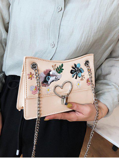 womens Flower Embroidery Metal Heart Crossbody Bag - WHITE  Mobile