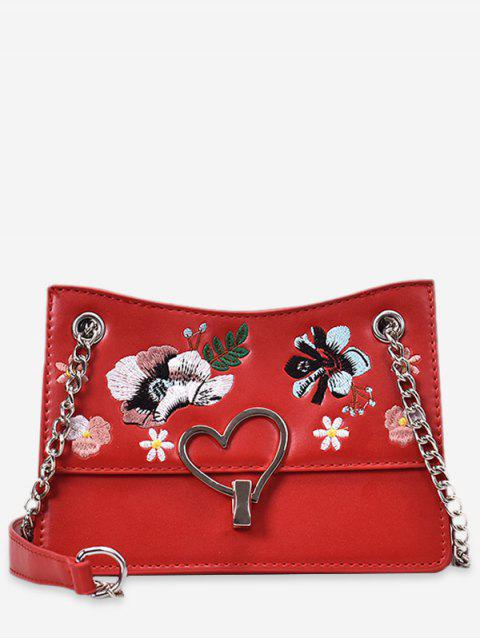 best Flower Embroidery Metal Heart Crossbody Bag - RED  Mobile