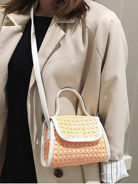 online Hollow Out Straw Flap Handbag - WHITE  Mobile