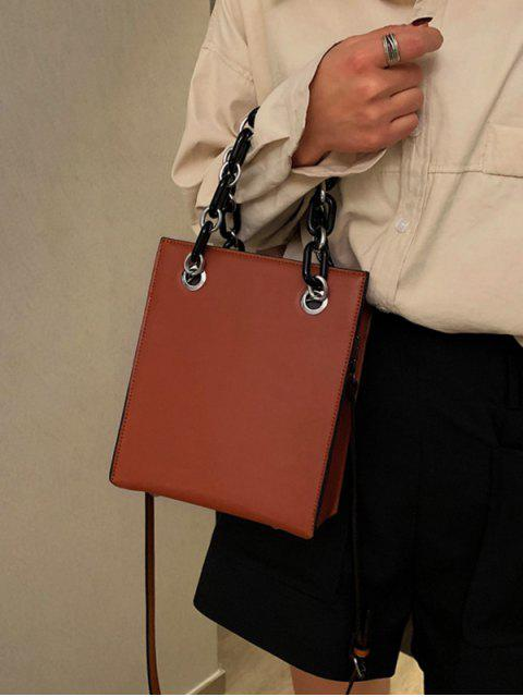 hot PU Leather Chain Crossbody Bag - BROWN  Mobile