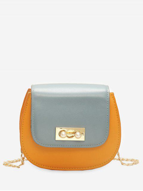 shop Faux Pearl Chain Flap Crossbody Bag - BEE YELLOW  Mobile