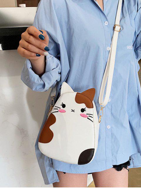 trendy Summer Cat Animal Print Shoulder Bag - WHITE  Mobile