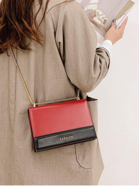 women Fashionable Color Block Crossbody Bag - RED  Mobile