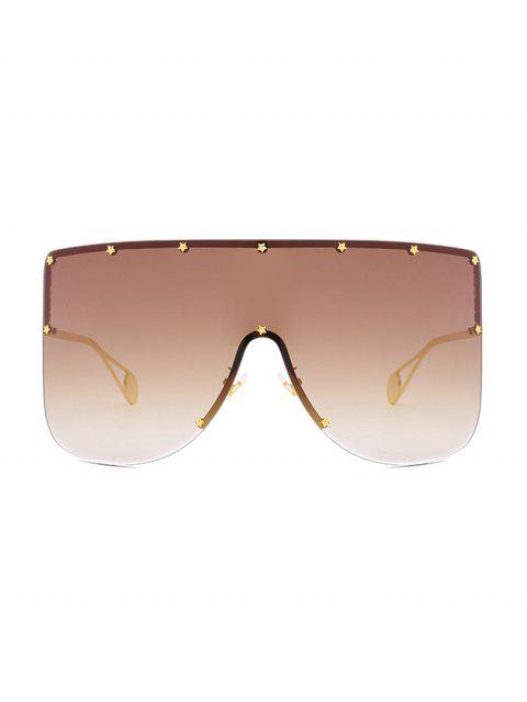 ladies Oversized Star Rimless Sunglasses - LIGHT BROWN  Mobile