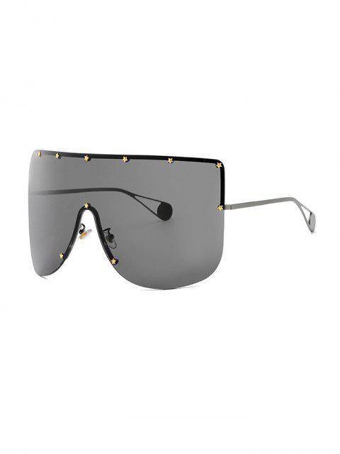 womens Oversized Star Rimless Sunglasses - BLACK  Mobile