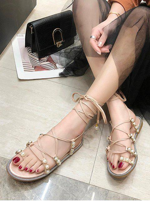 outfits Faux Pearl Decoration Toe Ring Sandals - PIG PINK EU 37 Mobile