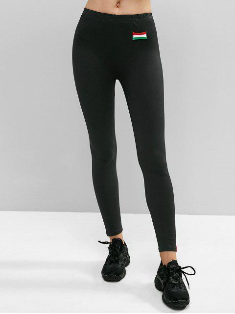 latest Striped Tape Skinny Leggings - BLACK L Mobile