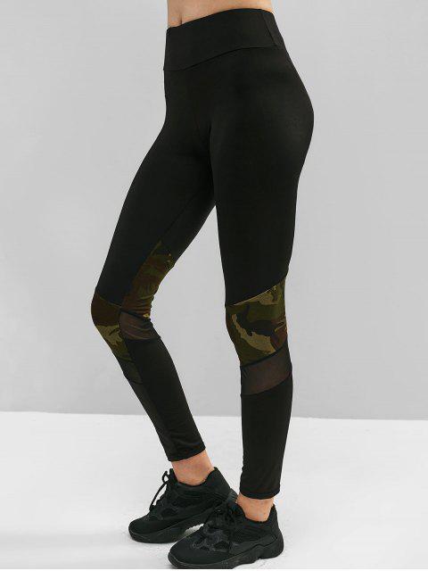 Mallas de malla con aplicación de malla de camuflaje - Negro M Mobile