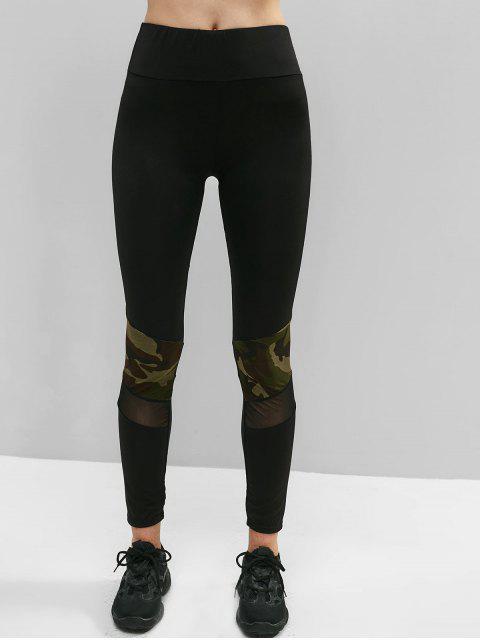 Mallas de malla con aplicación de malla de camuflaje - Negro L Mobile