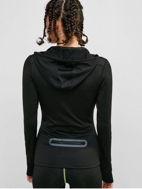 Bolsillo reflectante con cremallera en la parte trasera con capucha y orificio para el pulgar - Negro XL Mobile