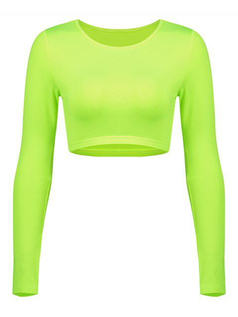 outfit Long Sleeve Neon Crop Gym Tee - PISTACHIO GREEN L Mobile