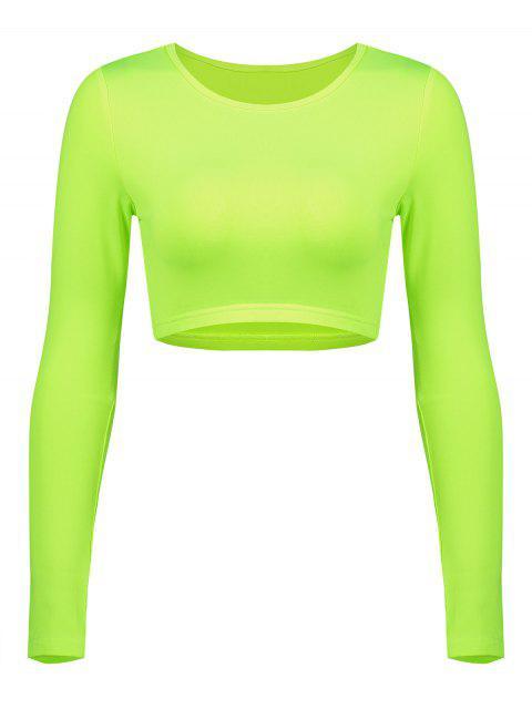 Camiseta de gimnasio de manga larga de neón - Verde de Pistacho L Mobile