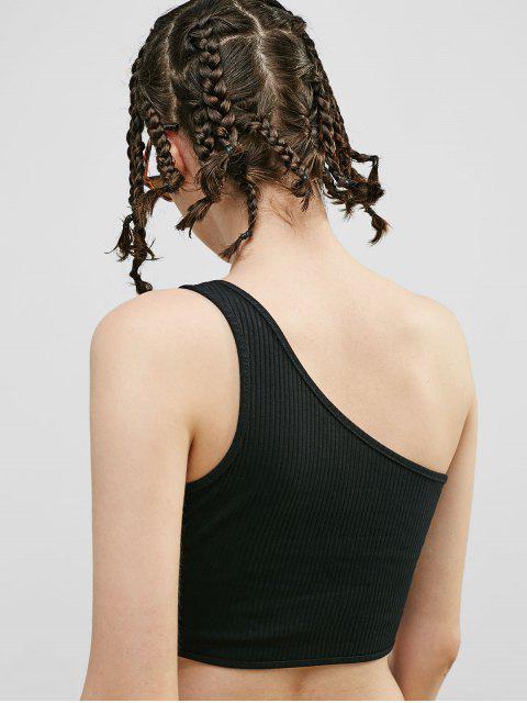Camiseta acanalada sin mangas con espalda acanalada - Negro M Mobile