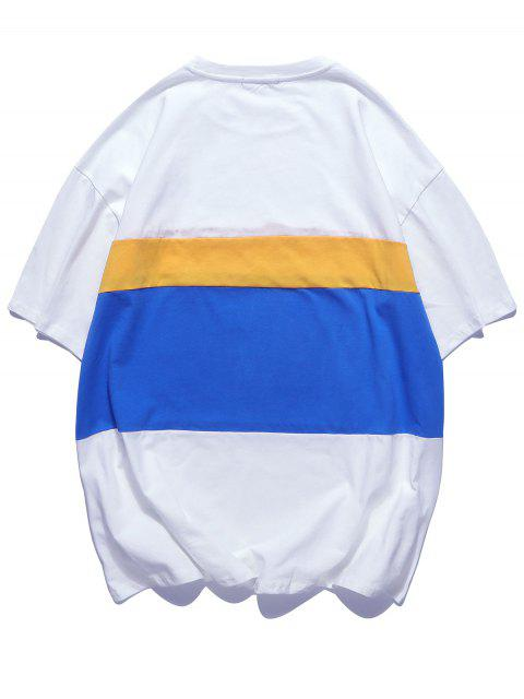 shops Color Block Splicing Short Sleeevs T-shirt - WHITE 2XL Mobile